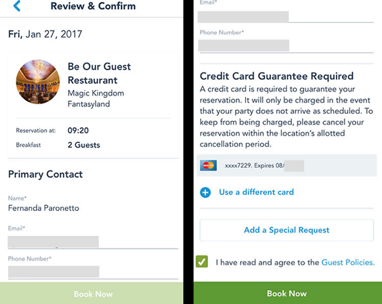 Veja o resumo da sua reserva, confirme nome, telefone e e-mail. Depois, confirme o cartão de crédito e efetue a reserva.