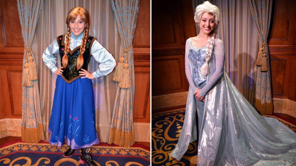 As irmãs Anna e Elsa, tirando fotos e dando autógrafos!