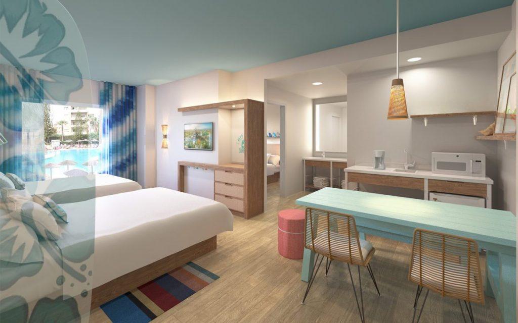 Suítes com até 2 quartos e cozinha, que acomoda até 6 pessoas.