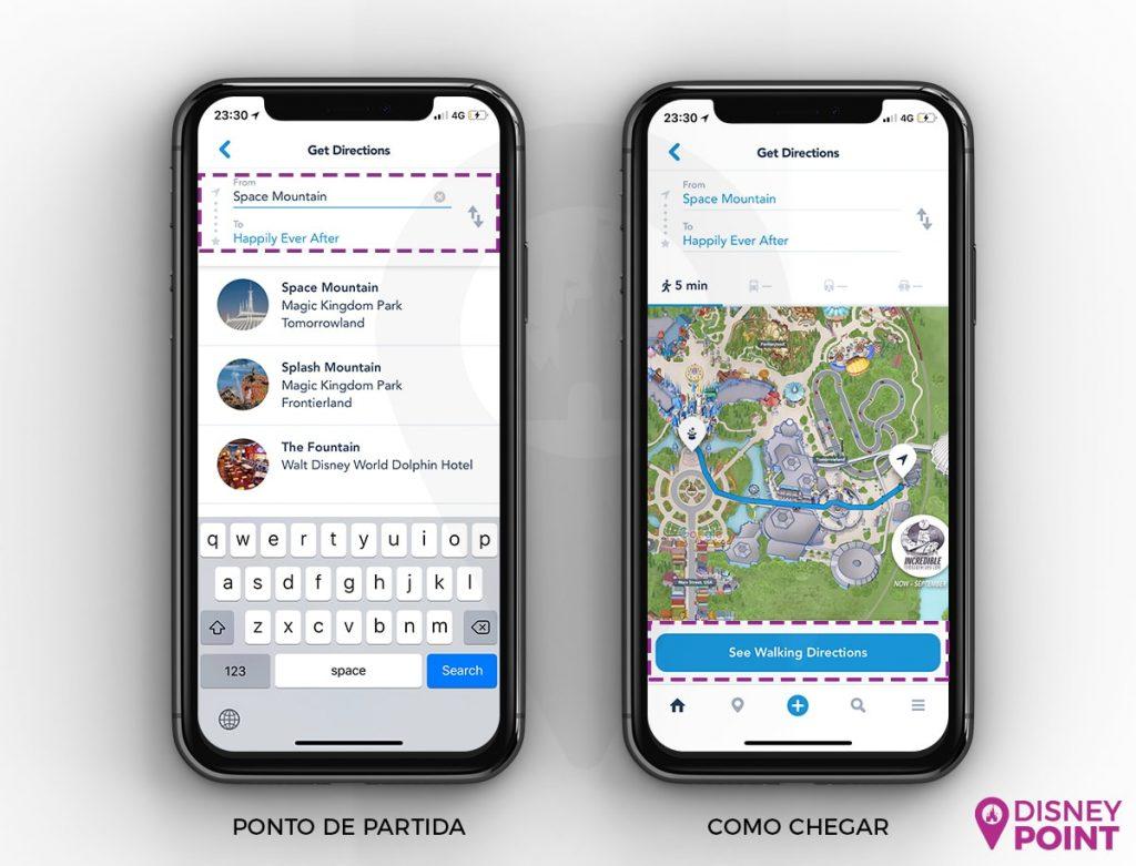 Escolha o ponto de partida caso o Aplicativo não veja sua localização. Em seguida, clique em See Walking Directions. Fácil assim!